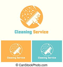 Cleaning service isolated vector logo template with sample...