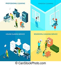 Cleaning Service Isometric Design Concept