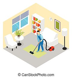 Cleaning Service Isometric Scene
