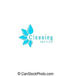 Cleaning service logo, blue fresh water drops disposition in a circle, clean home icon