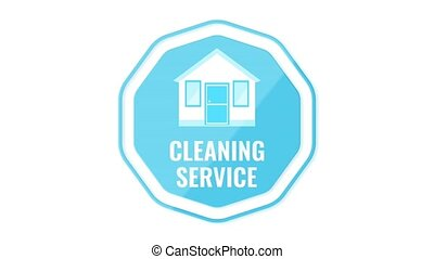 Cleaning service logo isolated on white background. House...