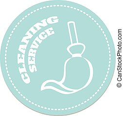 Cleaning Service logo  victor illustration with broom