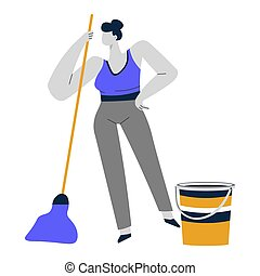 Cleaning service or housewife, woman mopping or sweeping floor
