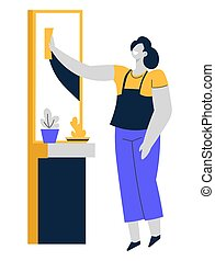 Cleaning service or housewife, woman polishing mirror, housework