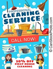 Cleaning service poster with house clean tools