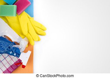 cleaning service products and equipment with copy space