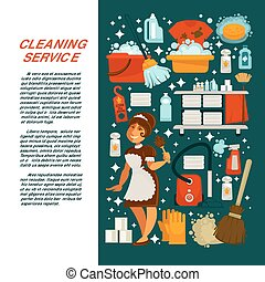 Cleaning service promotional poster with maid in uniform and text