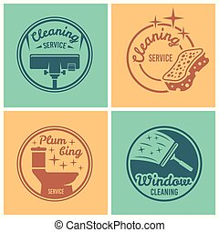 Cleaning service set of vector round badges
