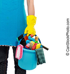 cleaning service - cleaning equipment isolated over white...