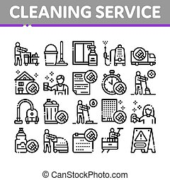Cleaning Service Tool Collection Icons Set Vector