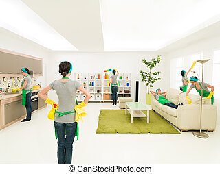 woman cleaning house at the same time in different places while one is supervising progress and one rests on couch