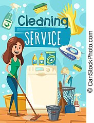 Cleaning service, woman mopping floor