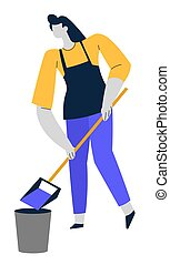 Cleaning service, woman with scoop and bucket, sweeping floor