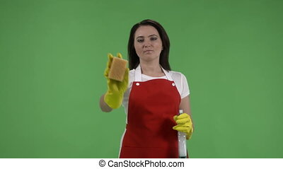 Cleaning service worker or housewife with cleaning supplies...