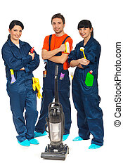 Team of workers people in a row offering cleaning service isolated on white background
