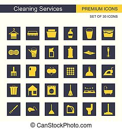 Cleaning services icons set