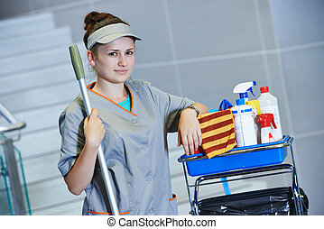 cleaning services - portrait of female cleaner in uniform...
