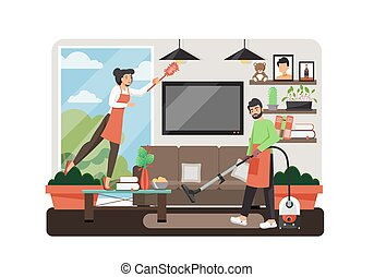 Cleaning services, vector flat style design illustration