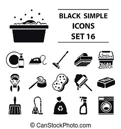 Cleaning set icons in black style. Big collection cleaning vector symbol stock illustration