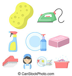 Cleaning set icons in cartoon style. Big collection of...