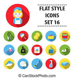 Cleaning set icons in flat style. Big collection cleaning bitmap,raster symbol stock illustration
