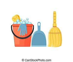 Cleaning set in a flat style vector illustration isolated on whi