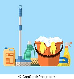 Set of funny house cleaning characters, detergents, bucket