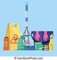 Cleaning set. MOP, sponge, blue plastic bucket