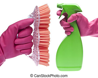 Cleaning Showdown Concept with Pink Gloved Hand, Spray ...