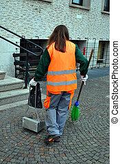 cleaning sidewalk