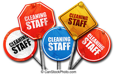 cleaning staff, 3D rendering, street signs