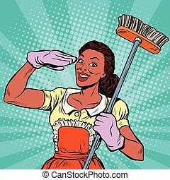 Cleaning staff. household equipment tools