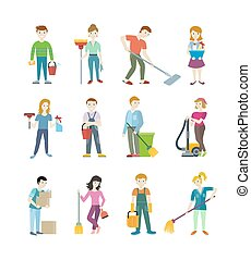 Cleaning Staff Man and Woman Character - Cleaning staff man...