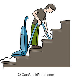 Cleaning Stairs - An image of a man cleaning stairs.