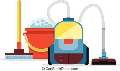 Cleaning supplies and vacuum cleaner. Vector flat cartoon...