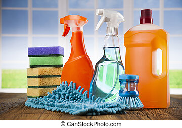 Cleaning supplies and window background