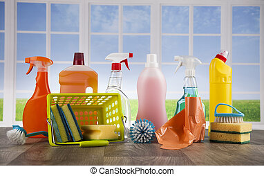 Cleaning supplies and window background - Group of assorted...
