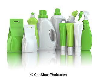 Cleaning supplies. Household chemical detergent bottles on...