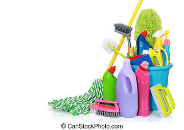 cleaning supplies in bucket - Plastic bucket with cleaning ...