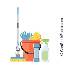 Cleaning supplies in flat cartoon style vector illustration isol