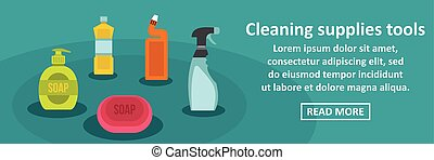 Cleaning supplies tools banner horizontal concept