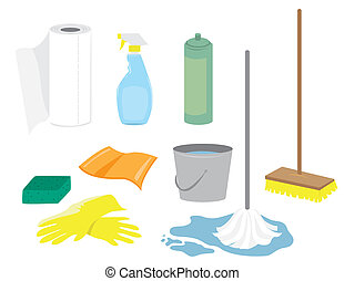 Cleaning Supplies - Various cleaning supplies including: ...