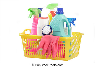 Cleaning Supply - Cleaning supply bottles in a basket,...