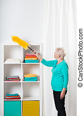 Cleaning the shelfs