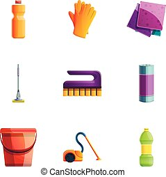 Cleaning tools icon set, cartoon style