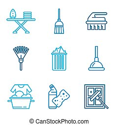 Cleaning Tools Icons in Flat Color Style