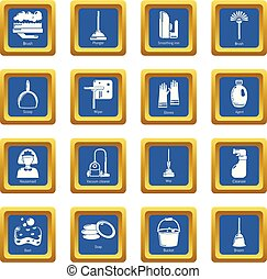 Cleaning tools icons set blue square vector