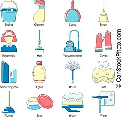 Cleaning tools icons set, cartoon style