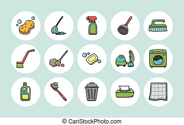 Cleaning tools icons set, eps10