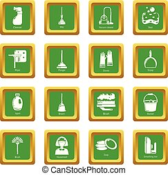 Cleaning tools icons set green square vector